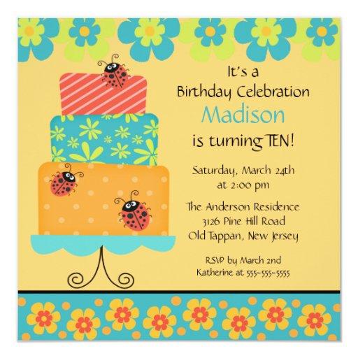 "Trendy Cake Birthday Invitation 5.25"" Square Invitation Card"