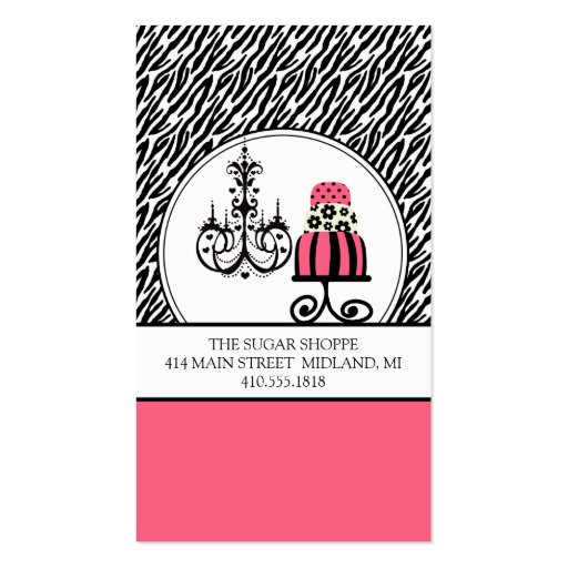 Trendy Cakery Zebra Print Business Cards