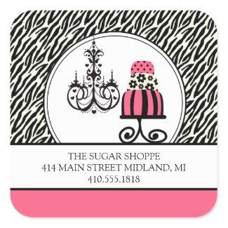 Trendy Cakery Zebra Print Product Label Stickers sticker