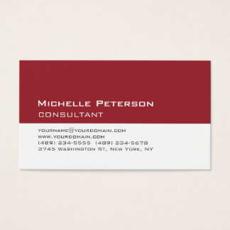 Trendy Carmine Red White Consultant Business Card