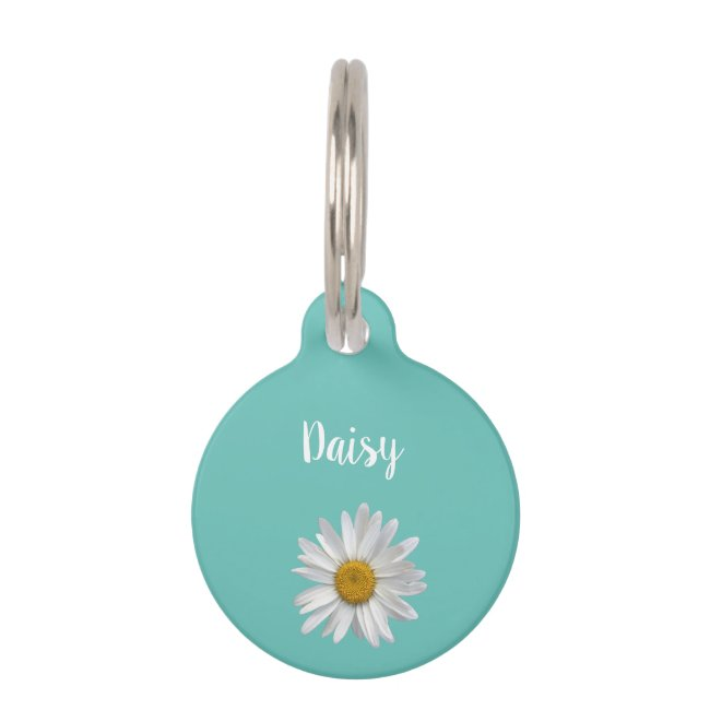 Trendy Cat White Daisy Cute Kitty Teal Green Pet ID Tag