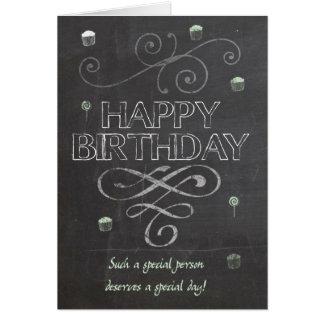 Trendy Chalk Board Effect Birthday Greeting Card