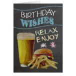 Trendy Chalk Board Effect, With Beer, Burger Greeting Card