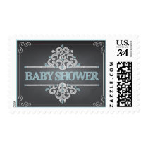Trendy Chalkboard Baby Shower Blue Boy Stamp