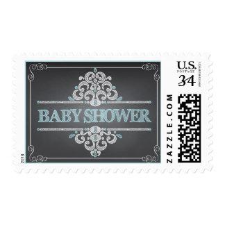 Trendy Chalkboard Baby Shower Blue Boy Stamp