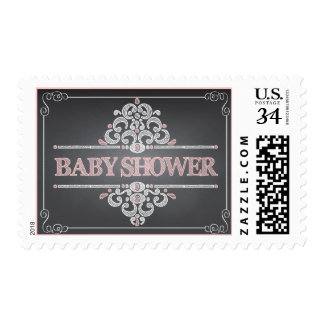 Trendy Chalkboard Baby Shower Pink Girl Stamp