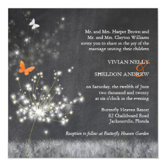 Trendy Chalkboard + Dandelion Wedding Invitations