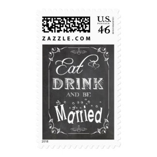 Trendy Chalkboard Eat Drink And Be Married Design Stamps