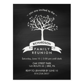 Trendy Chalkboard Family Reunion with Tree Postcard