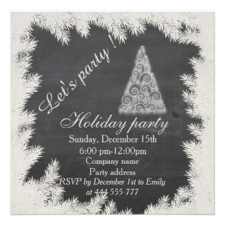 Trendy Chalkboard fun corporate holiday party Card