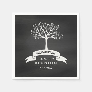 Trendy Chalkboard Look with Tree Family Reunion Paper Napkin
