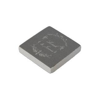 Trendy chalkboard wedding design with scroll stone magnet