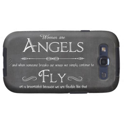 Trendy Chalkboard Women Are Angels Design Galaxy SIII Covers