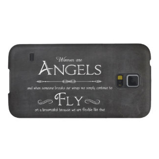 Trendy Chalkboard Women Are Angels Design Galaxy S5 Case