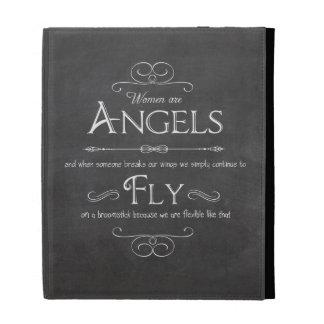 Trendy Chalkboard Women Are Angels Design iPad Case