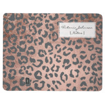 Trendy charcoal grey rose gold leopard pattern journal