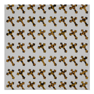 Trendy Cheetah Glitter Crosses Printed Image Poster