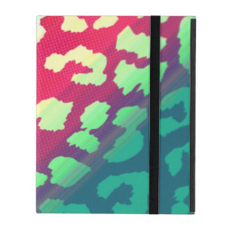 Trendy Cheetah Hot Pink Teal Gradiant Pattern iPad Case
