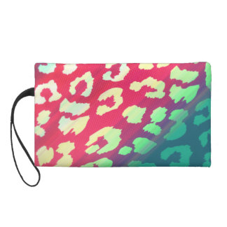 Trendy Cheetah Hot Pink Teal Gradient Pattern Wristlet Clutches