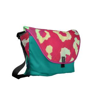 Trendy Cheetah Hot Pink Teal Gradient Pattern Courier Bag