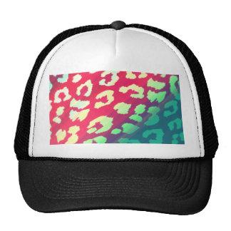Trendy Cheetah Hot Pink Teal Gradient Pattern Trucker Hat