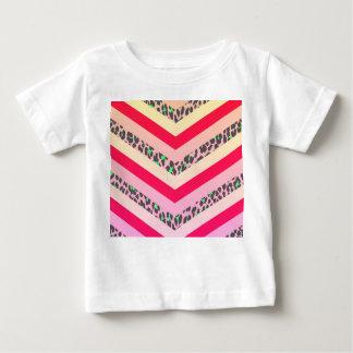 Trendy Cheetah Pink and Teal Chevron Pattern Print Baby T-Shirt