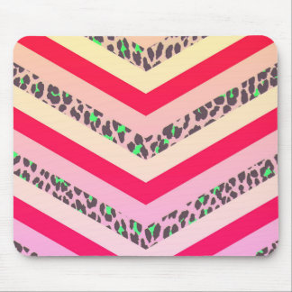 Trendy Cheetah Pink and Teal Chevron Pattern Print Mouse Pad