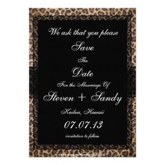 Trendy Cheetah Print Save The Date Announcement