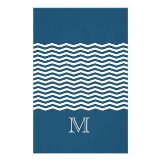 Trendy chevron blue monogram personalized stationery
