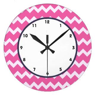 trendy chevron cerise white retro clock pink