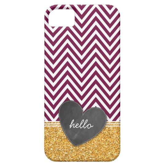 TRENDY chevron chalkboard heart glitter maroon iPhone SE/5/5s Case