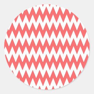 Trendy chevron coral classic round sticker