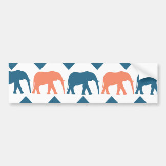 Trendy Chevron Elephants Coral Blue Stripe Pattern Bumper Sticker