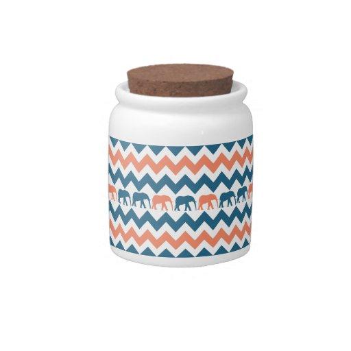 Trendy Chevron Elephants Coral Blue Stripe Pattern Candy Dishes