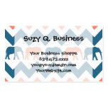 Trendy Chevron Elephants Coral Blue Stripe Pattern Double-Sided Standard Business Cards (Pack Of 100)
