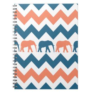 Trendy Chevron Elephants Coral Blue Stripe Pattern Notebook