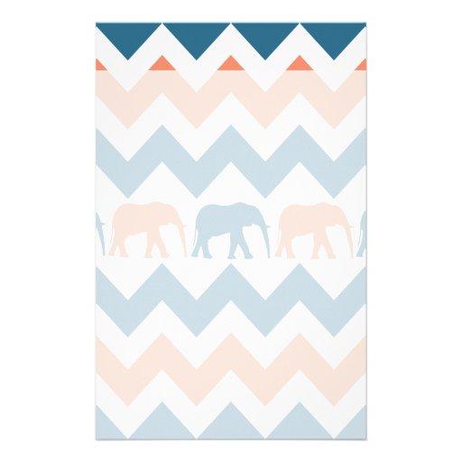 Trendy Chevron Elephants Coral Blue Stripe Pattern Custom Stationery
