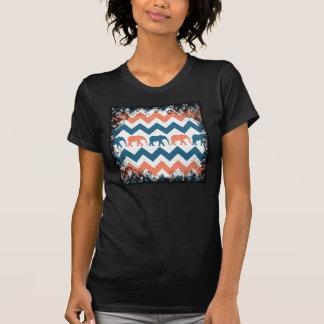 Trendy Chevron Elephants Coral Blue Stripe Pattern T-shirt