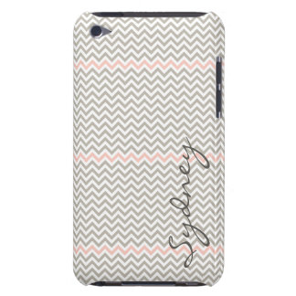 Trendy Chevron in Light Pink and Grey Customizable Case-Mate iPod Touch Case
