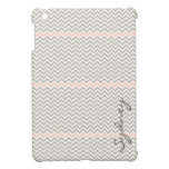 Trendy Chevron in Light Pink and Grey Customizable Cover For The iPad Mini