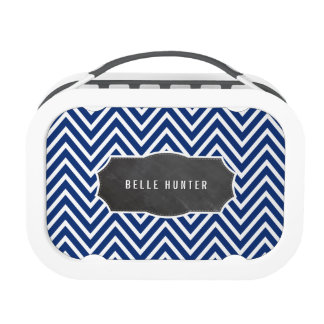 TRENDY chevron pattern chalkboard name navy blue Replacement Plate
