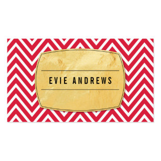 TRENDY chevron pattern gold foil badge bright red Business Card Templates