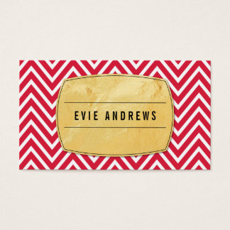 TRENDY chevron pattern gold foil badge bright red Business Card