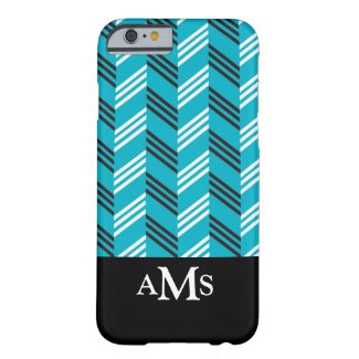 Trendy Chevron Pattern Monogrammed Turquoise