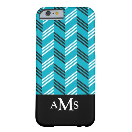 Trendy Chevron Pattern Monogrammed Turquoise Barely There iPhone 6 Case