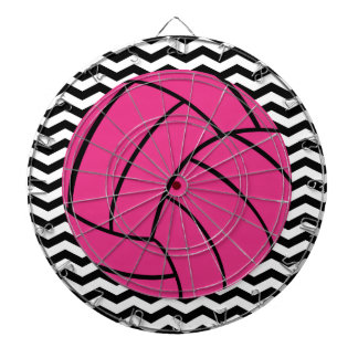Trendy Chevron Pattern & Pink Volleyball Dartboard