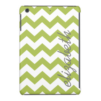 Trendy Chevron Pattern with name - lime green gray iPad Mini Cover