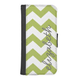 Trendy Chevron Pattern with name - lime green gray iPhone 5 Wallet Cases