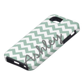 Trendy Chevron Pattern with name - mint gray iPhone 5 Cases