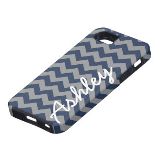 Trendy Chevron Pattern with name - navy gray iPhone 5 Covers